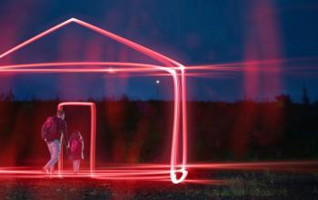 A Man and Child walking through a virtual house door